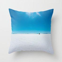 In the Distance, Salar de Uyuni, Bolivia Salt Flats Throw Pillow