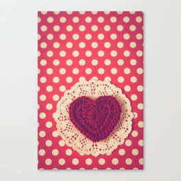 Red Crochet Heart Canvas Print