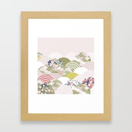 scales simple Nature background with japanese sakura flower, rosy pink Cherry, wave circle pattern Framed Art Print