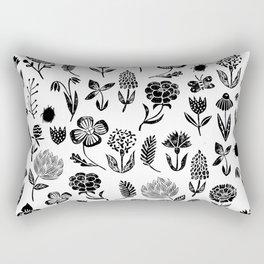 Linocut black and white floral botanical nature art pattern gifts home decor dorm college boho Rectangular Pillow