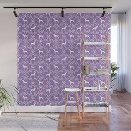 Vizsla dog breed minimal pattern floral lavender lilac dog gifts vizlas breed Wall Mural