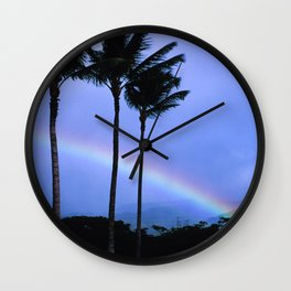 Island-Style Rainbow Across Kauai, Hawaii Wall Clock
