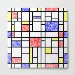 Modern Art Plasma Red Yellow Blue Grid Pattern Metal Print