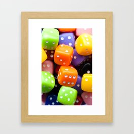 Assorted multicolor dices, close-up shot, abstract gambling background Framed Art Print
