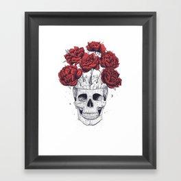 Skull with peonies Framed Art Print