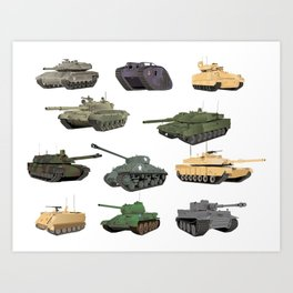 Multiple Battle Tanks Art Print