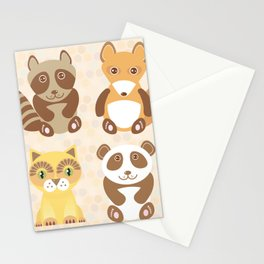 Funny cute raccoon, panda, fox, cat on dot background. Stationery Cards