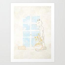 Cat Smelling Flower Art Print