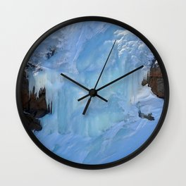 Watercolor Ice 58, Columbine Falls in the Blue Wall Clock