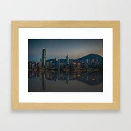 Hong Kong Skyline at Dusk Framed Art Print