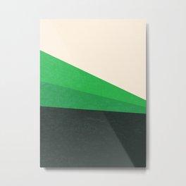 Stripe V Green Fields Metal Print
