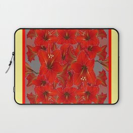 YELLOW COLOR RED AMARYLLIS FLOWER GARDEN  FLOWERS Laptop Sleeve