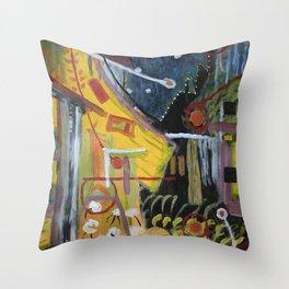 Cafe Terrace at Night a la Mela Throw Pillow