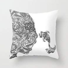 Homme Poisson B&W Throw Pillow