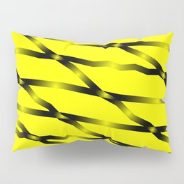 Slanting black lines and rhombuses on yellow with intersection of glare. Pillow Sham