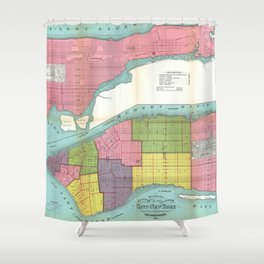 Vintage NYC Fire Department Map (1871)  Shower Curtain