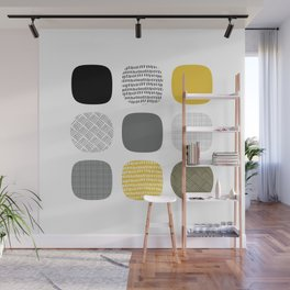 Abstract in mustard and grey Wall Mural