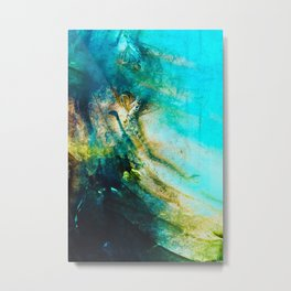 STORMY TEAL ABSTRACT PAINTING Metal Print
