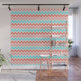 Coral Peach Pink and Aqua Turquoise Blue Chevron Wall Mural