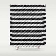 Sleepy Black and White Stripes Shower Curtain