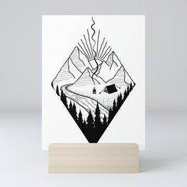 hiker hiking outdoor mountains nature camping gift Mini Art Print