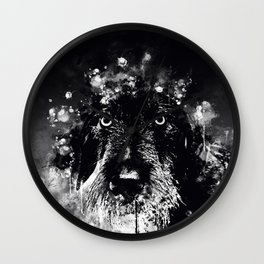 wire haired dachshund dog wsbw Wall Clock