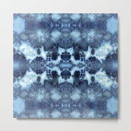 Tie-Dye Damask Blue Metal Print
