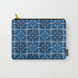Classic Blue Twirl Tile Carry-All Pouch