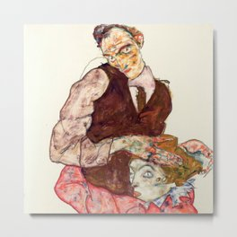 "Egon Schiele ""Lovers"" Metal Print"