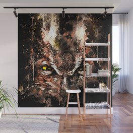 great horned owl bird close up wscb Wall Mural