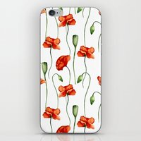 poppies iPhone & iPod Skins featuring Poppies by Julia Badeeva