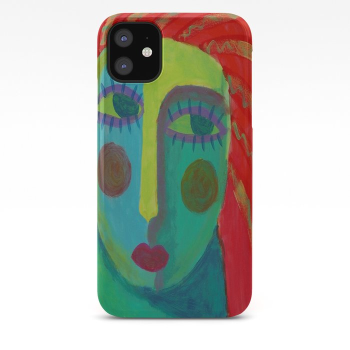 Colorful Abstract Face Original Acrylic Painting Iphone Case By Jackieludtke