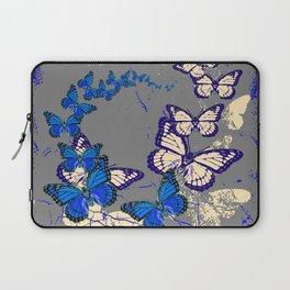 Blue Butterflies Blue & Purple Grey Pattern Abstract Laptop Sleeve