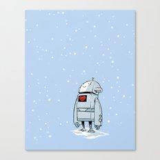 Robot Love Snow Canvas Print