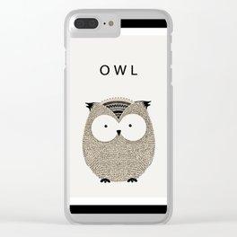 Cute hand drawn owl design Clear iPhone Case