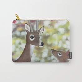 white tailed deer, tufted titmice, & cherry blossoms Carry-All Pouch