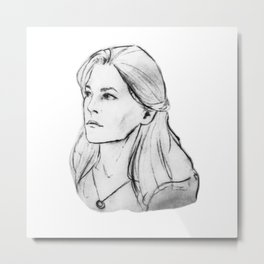 Abby Griffin's Portrait WHITE Metal Print