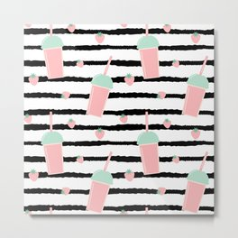 cute lovely pattern background with strawberry smoothies on black brush Metal Print