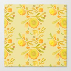 Granada Floral in Yellow Ochre on yellow Canvas Print