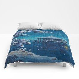 Tsuchiya Kôitsu Japanese Woodblock Vintage Print Blue Winter Snow Pagoda On Lake Comforters