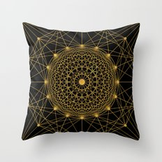 Geometric Circle Black and Gold Throw Pillow