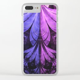 Beautiful Blue and Lilac-Violet Starling Feathers Clear iPhone Case
