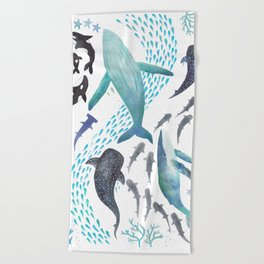 Sharks, Humpback Whales, Orcas & Turtles Ocean Play Print Beach Towel