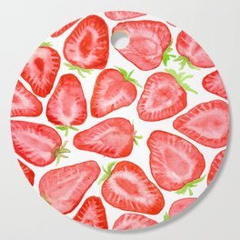 Watercolor strawberry slices pattern Cutting Board