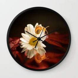 Baby Snail on a flower in the water  Wall Clock