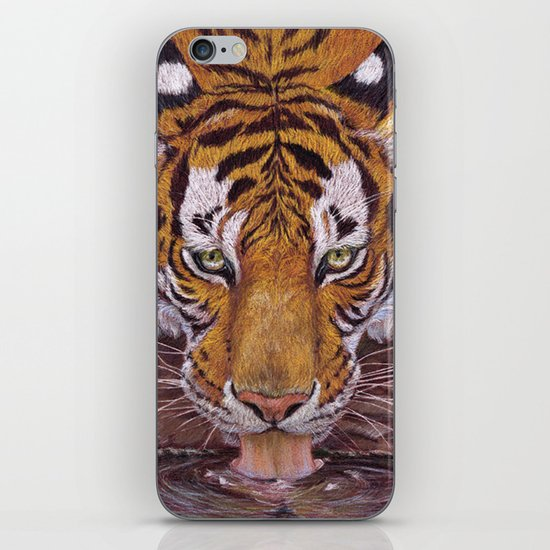 Thirsty Tiger iPhone Skin