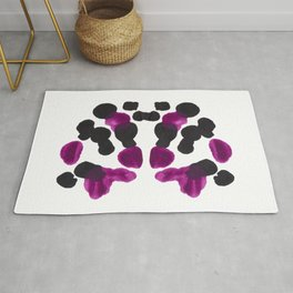 Purple & Black Organic Ink Blot Diagram Rug