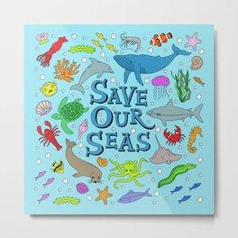 Save Our Seas Marine Ocean Conservation Art Metal Print