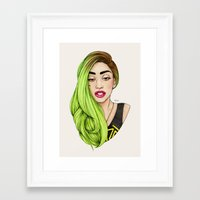lady gaga Framed Art Prints featuring Lady Neon by Helen Green