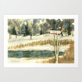 Hibernation // Winter Landscape Watercolor Painting // Farm Life Art Print